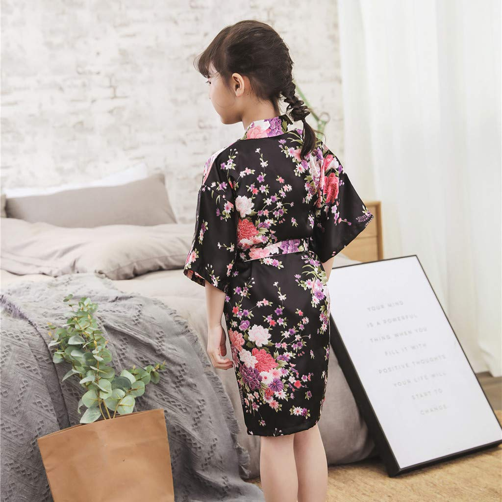 VEFSU Toddler Baby Kid Girls Floral Silk Satin Kimono Robes Bathrobe Sleepwear