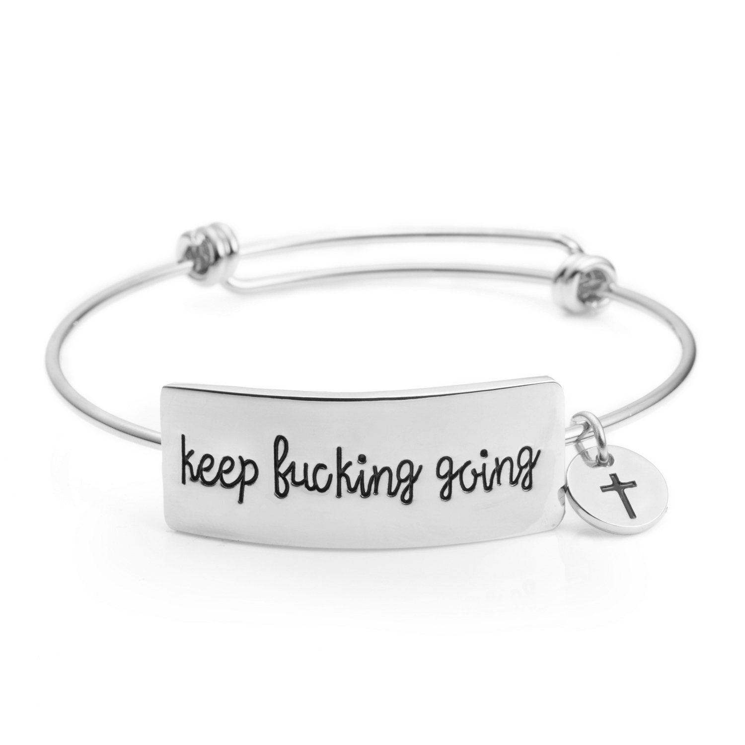 Yiyangjewelry Gifts for Her Inspirational Expandable Bangle Bracelet Engraved Keep Fucking Going(Silver)