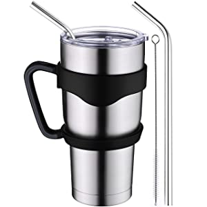 Homitt Insulated Tumbler 30 oz Double Wall Vacuum 18/8 Stainless Steel Tumbler with Lid, Handle, Straws, Brush | Home, Office, School, Car Trip, First Choice Gift for Everyone | Beer Coffee Tumbler