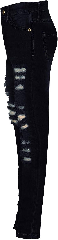 A2Z Kids Girls Skinny Jeans Denim Ripped Fashion Stretchy Jet Black Pants Jeggings