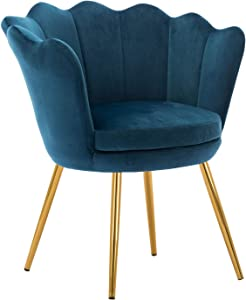 Comfy Desk Chair no Wheels, Velvet Upholstered Accent Chair, Vanity Chair for Living Room, Bedroom, Dining Room, Golden Legs, Teal Blue