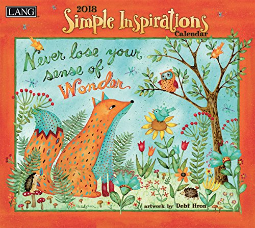 "LANG - 2018 Wall Calendar - ""Simple Inspirations"" - Artwork By Debi Hron - 12 Month - Open, 13 3/8"" X 24"""