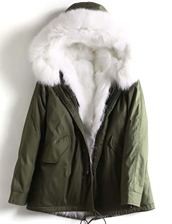 d339ac2cd JING Women Fox Fur Parka Real Fur-Lined Coat Removable Hood Liner ...