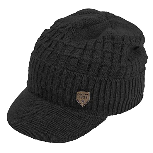 ddc4c2a1 Original One Men's Winter Visor Billed Beanie Hat with Brim Fleece Lined  Knit Baseball Cap (