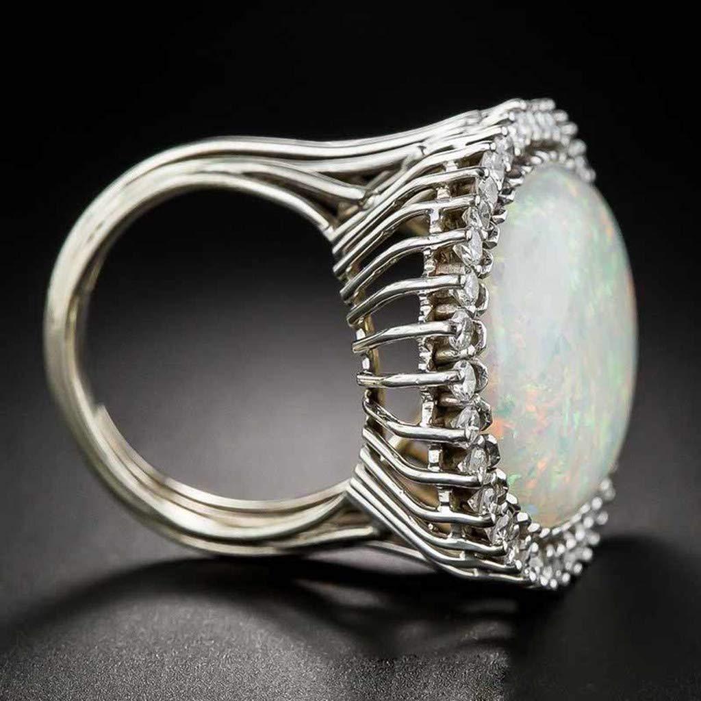 Diamond Rings,Futemo Fashion Artificial Stone Geometric Oval Openwork Ring Jewelry Statement Gift Ring for Women Girl