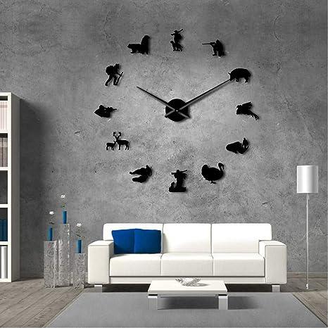 Meaeo Caza DIY Reloj De Pared Gigante Cazadores De Animales Exclusivo Reloj De Tiempo Grande Decoración