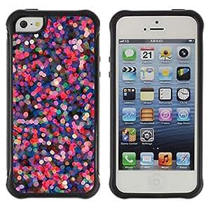 LASTONE PHONE CASE / Suave Silicona Caso Carcasa de Caucho Funda para Apple Iphone 5 / 5S / pink purple dots abstract red lights