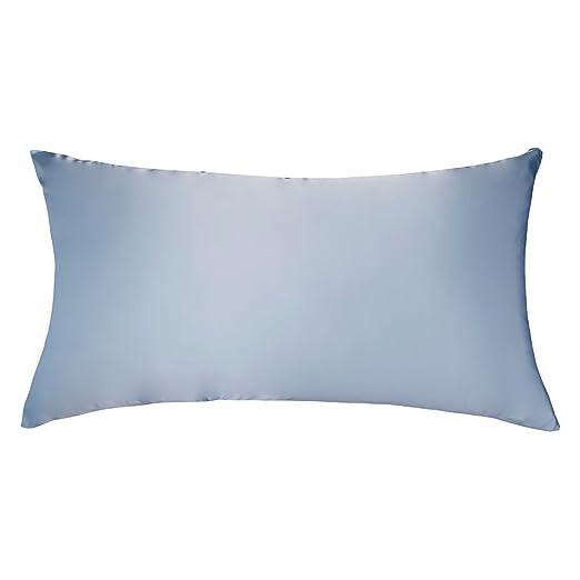 LULUSILK Funda de Almohada para el Pelo y Piel 100% Pura Seda 16 Momme con Cremallera Oculta 1 Unidad, 40 x 80 cm, Azul Claro