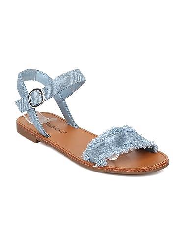 5b3212426a6 Breckelle s Women Frayed Denim Ankle Strap Flat Sandal HA39 - Blue Denim  (Size  6.0