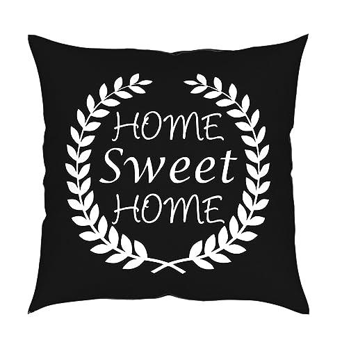 MyBUBO Home Sweet Home Dekokissen Kissenhülle/Kissenbezug, Schwarz Weiss  Kissen Zierkissen 45x45cm Schwarz/