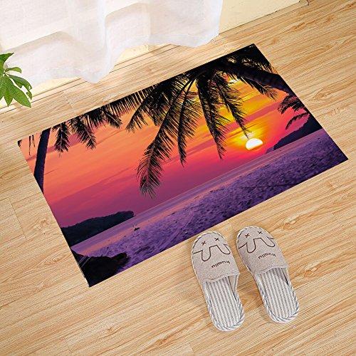 ALDECOR Low Profile Sunset Island Palm Tree Silhouette Door Mat Fashion Welcome Pad Garage Garden Snow Shovel Front Door Mat ()