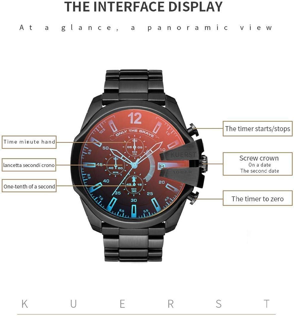 Armbanduhren,Stahlgürtel Polarisierte Chamäleon Quarzuhr Großes Zifferblatt wasserdichte Herrenuhr N
