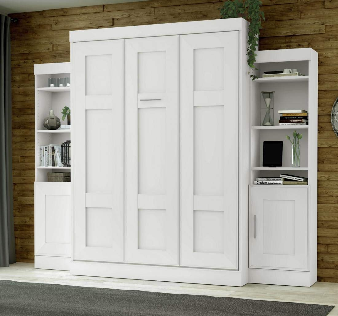 """Bestar Queen Wall Bed with Two 21"""" Storage Units and Doors"""