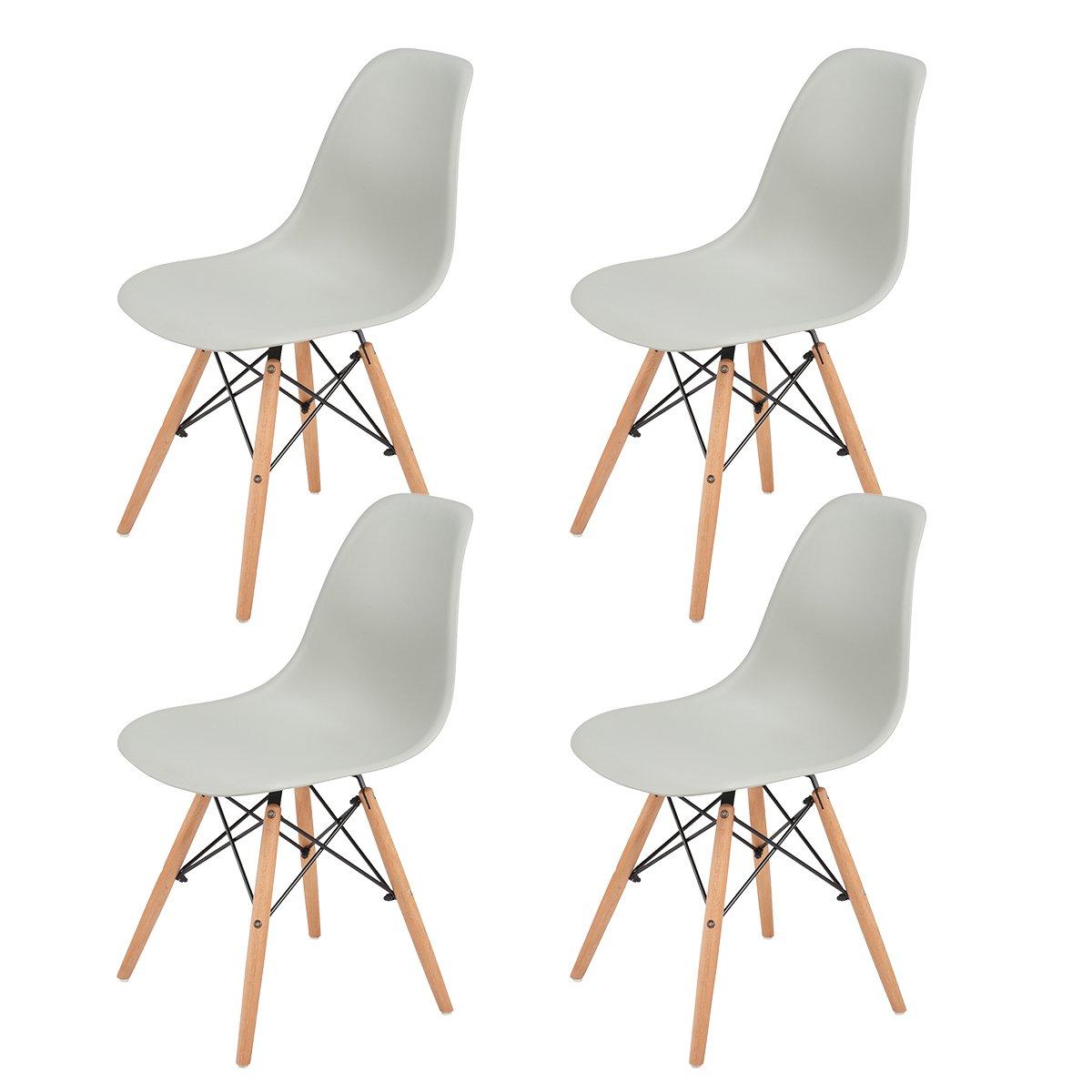 EGGREE Set di 4 sedie da pranzo Modello sedie con gambe in faggio massiccio, per sala da pranzo cucina,Bianco EGGREE-ES-01