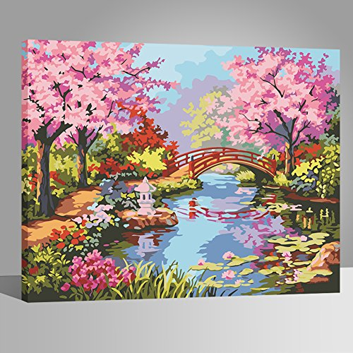 LIUDAO Paint by Number Kit - Oil Painting on Canvas for Adults Beginner - Cherry Blossom Bridge 16x20 Inch Wooden Frame