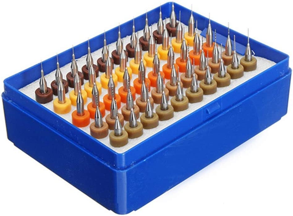 SHENYUAN 50pcs 0.25-0.45mm Tungsten Carbide Micro PCB Drill Bit Set for PCB Circuit Board