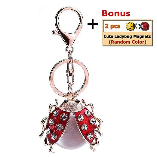 BelleDeco Ladybug Key Chain Cute Sparkling Crystal Keyring Handbag Pendant  Girl's Backpack Lucky Decoration