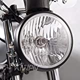 Sirius 7 inch round motorcycle headlight with black housing ECE compliant Halogen H4 bulb 12V 55W 60W high low beam
