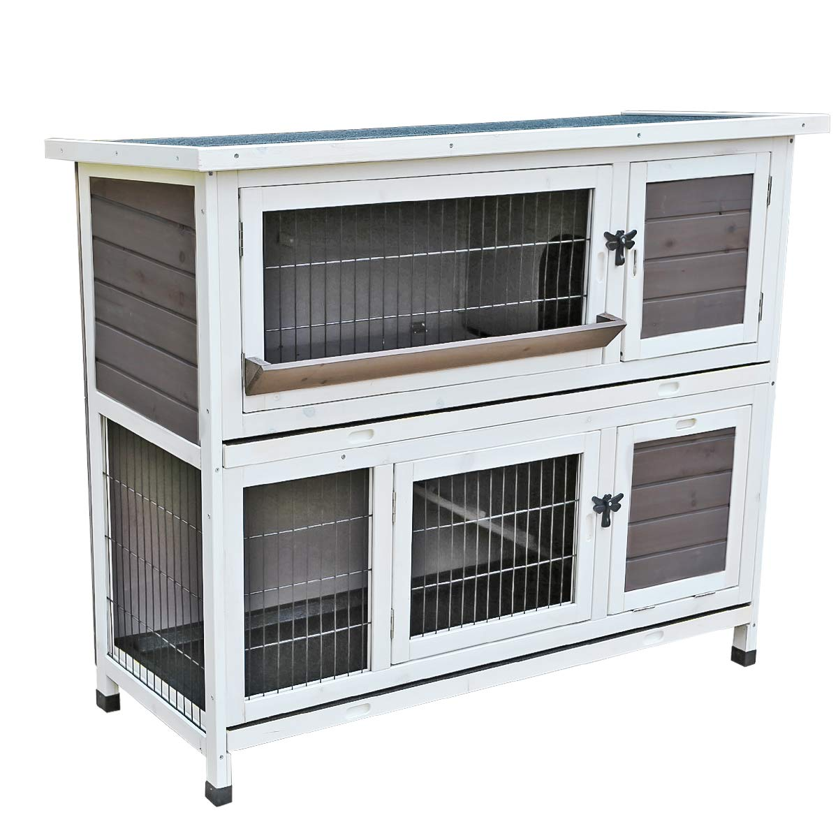 Yardeen Rabbit Hutch Wooden Pet Two Story Wood Bunny Cage Indoor Outdoor for Small Animals. 44''(L) x 19.6''(W) x 39.7''(H)