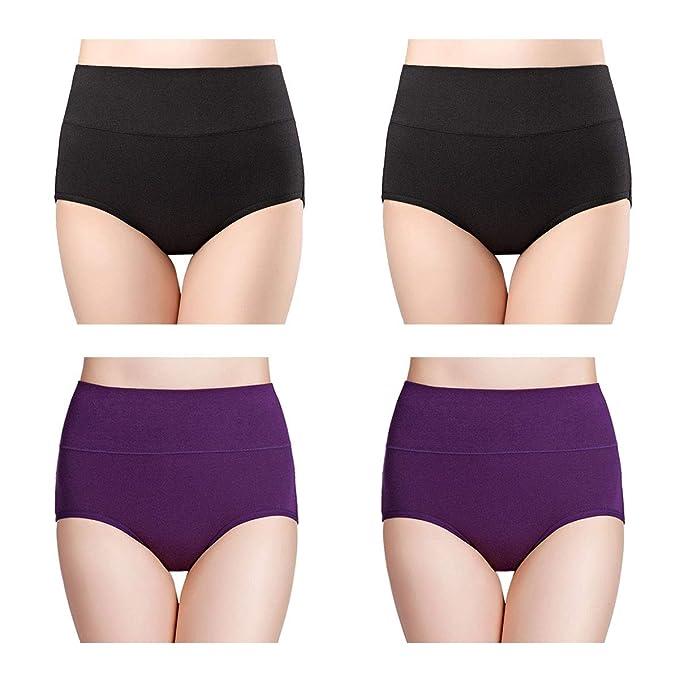 d10ddf5178 Wirarpa Women s High Waisted Cotton Underwear Full Briefs Ladies  Comfortable Panties 4 Pack Black