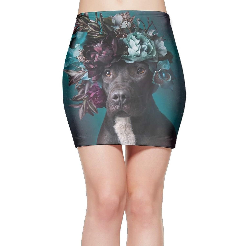 FASHIONGI Funny Flower Dog Fashion Elastic Waist Bodycon Casual Stretchy Pencil Mini Skirt Above Knee