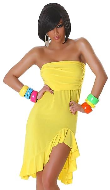 Jela London - Vestido - sujetador bandeau - Básico - Sin mangas - para mujer amarillo Talla única: Amazon.es: Ropa y accesorios