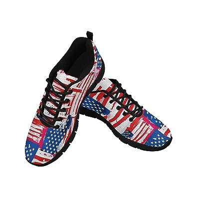 3039e9a0b271cf InterestPrint Women's Lightweight Mesh Cloth Sport Running Shoes US7 USA  Flag