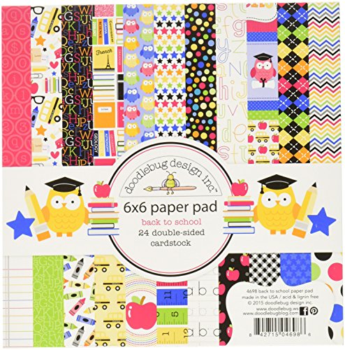 (DOODLEBUG SCH4698 School Paper Pad (24 Pack), 6 by 6