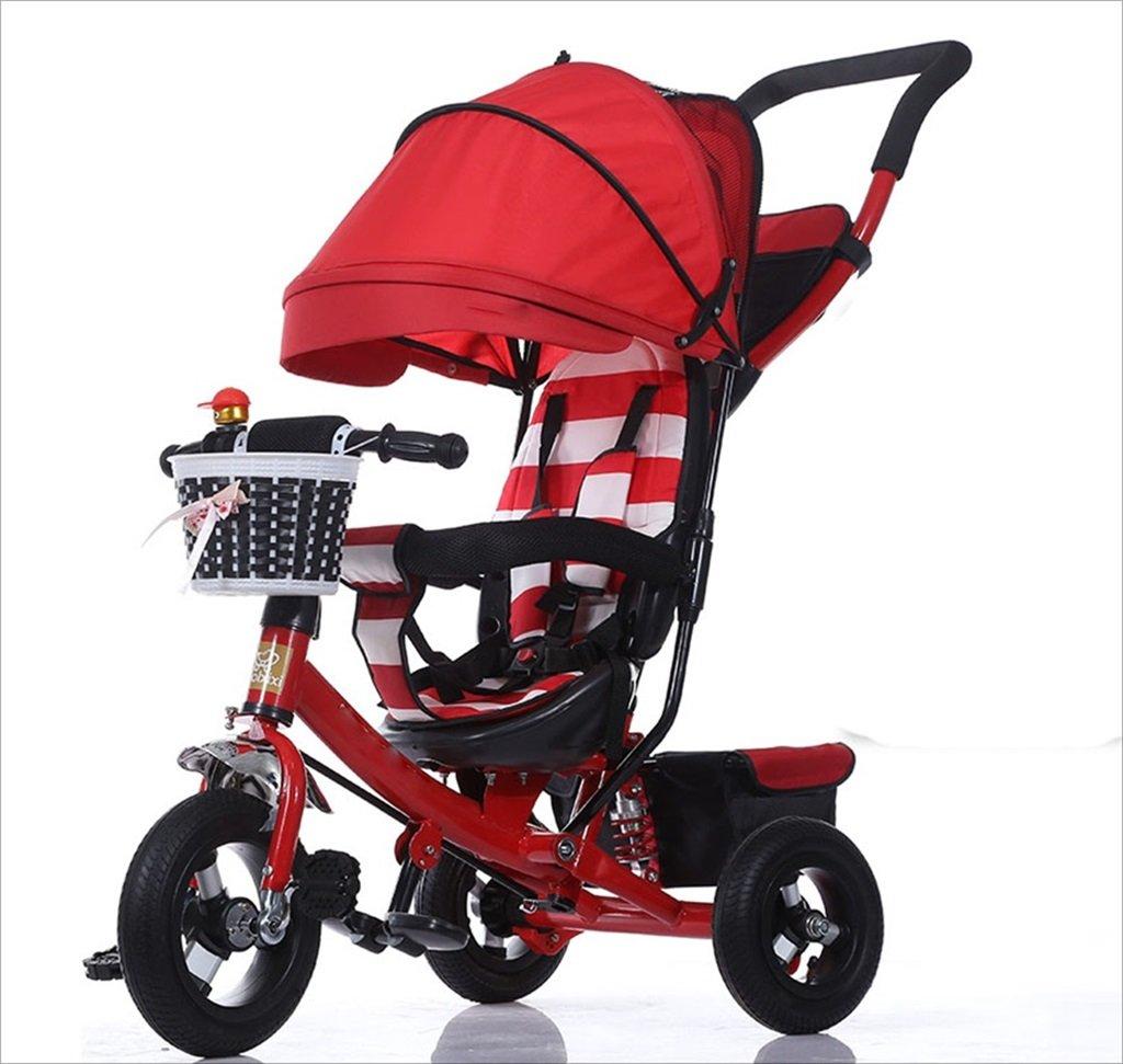 三輪車の赤ちゃんキャリッジバイク子供のおもちゃの車のチタンの車輪/泡ホイールの自転車3つの車輪、折り畳み式(ボーイ/ガール、1-3-5歳) (色 : 赤, サイズ さいず : B) B07DVHYF1M B|赤 赤 B