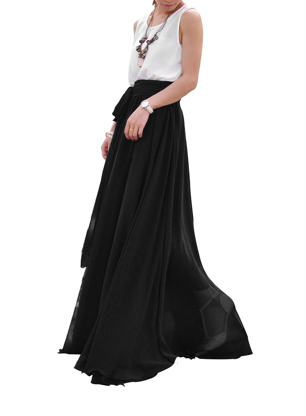 Melansay Women's Beatiful Bow Tie Summer Beach Chiffon High Waist Maxi Skirt XXL,Black