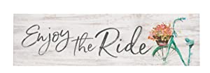 P. Graham Dunn Enjoy The Ride Bicycle Whitewash 6 x 1.5 Mini Pine Wood Tabletop Sign Plaque