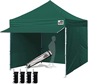 Eurmax 10 x 10 Pop up Canopy Commercial Tent Outdoor Party Canopies with 4 Removable Zippered Sidewalls and Roller Bag with 4 Canopy Sand Bags & 24 Squre Ft Extended Awning(Forest Green)