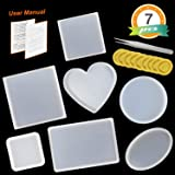 7 Pack Resin Casting Molds JOFAMY Epoxy Resin Molds Including Round, Square, Rectangle, Ellipse,Heart Coaster Molds,Silicone Molds for Coasters, Resin Jewelry Making & Home Decor