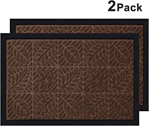 "Amagabeli 2 Pack Outside Shoe Mat Rubber Doormat for Front Door 18""x 30"" Outdoor Mats Entrance Waterproof Rugs Dirt Debris Mud Trapper Carpet for Patio Non Skid Doormats All Weather Exterior"