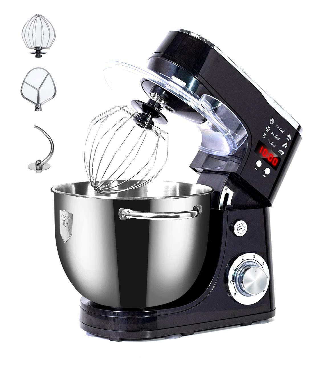 WantJoin Stand MixerProfessional dough machine with handlesKneading Dough mixer with TimerDigital display