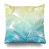 Soopat Decorative Pillow Cover 18''X18'' Two Sides Printed Modern Teal Yellow Tropical Palm Trees Pattern Bandana Throw Pillow Cases Decorative Home Decor Indoor Nice Gift Kitchen Garden