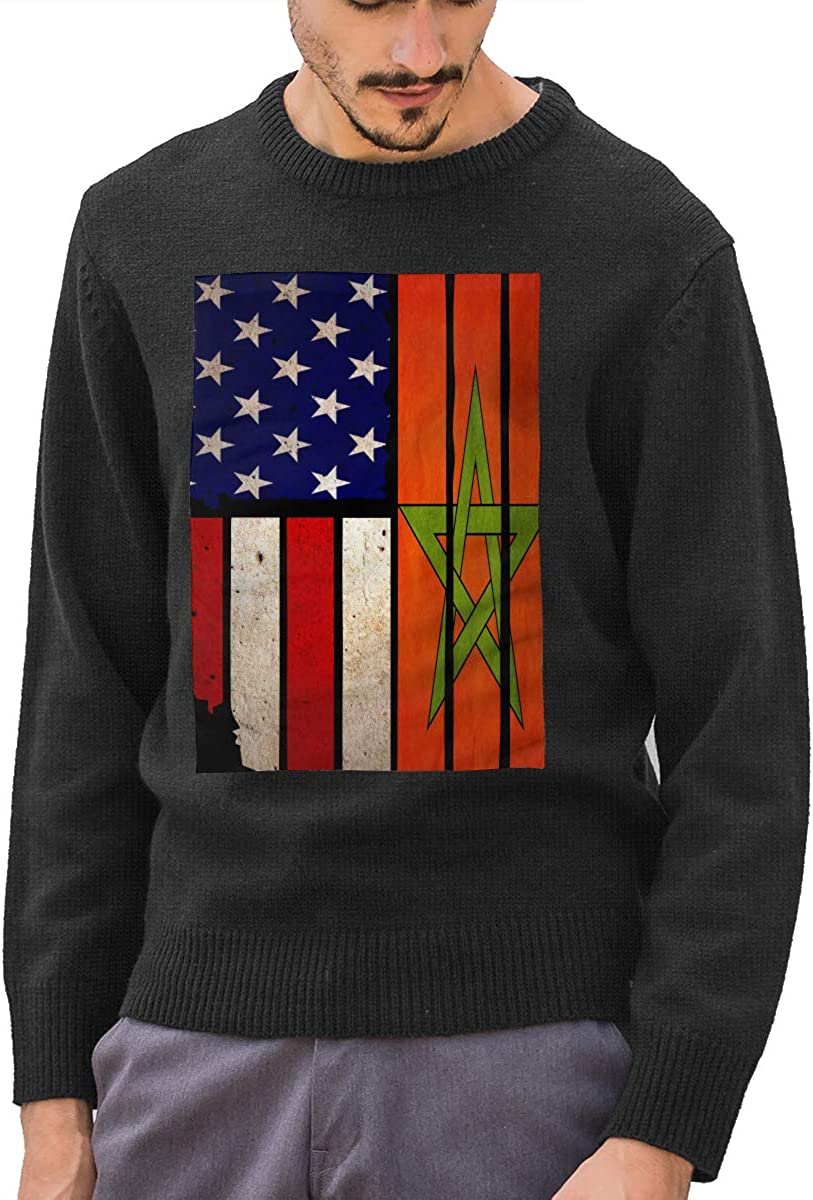 Mens Vintage USA Morocco Flag Round Neck Long Sleeve Basic Pullover Sweater Winter Tops