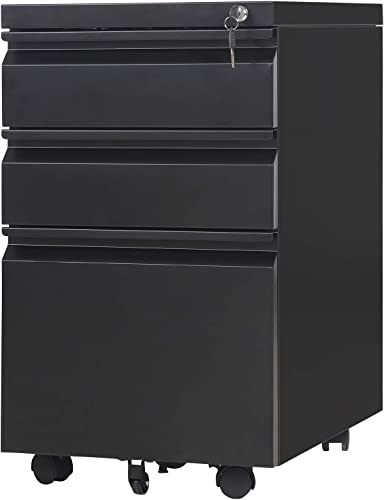 File Cabinet 3 Drawer Metal Mobile File Cabinet with Lock Fully-Assembled Except Casters Black