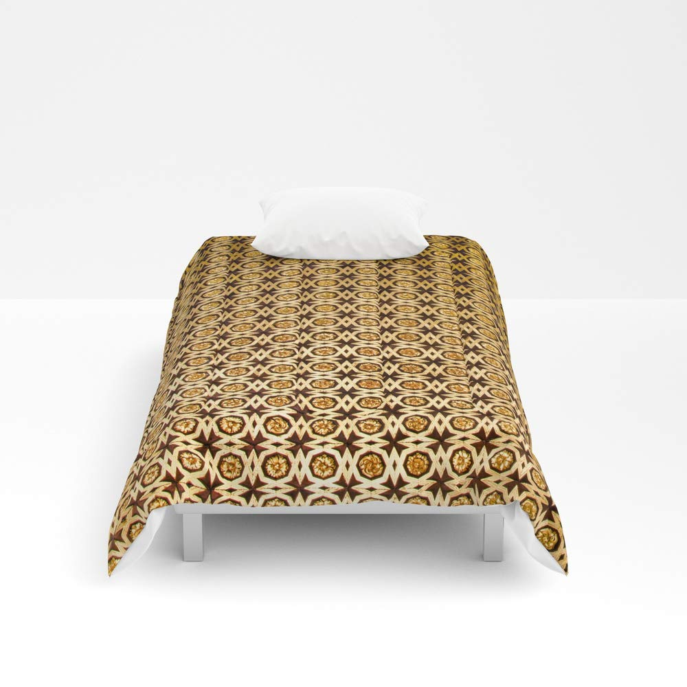 Society6 Comforter, Size Twin XL: 68'' x 92'', Gold and Wood Carving Pattern by tatianabrasil
