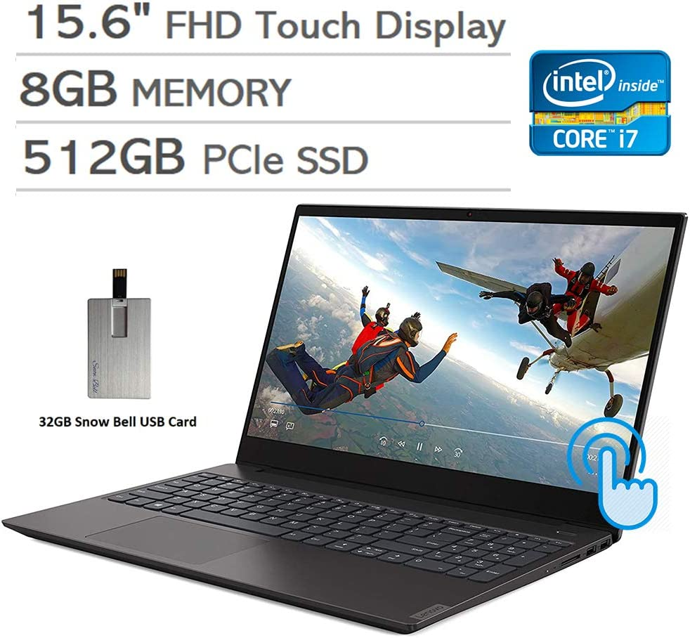 "2020 Lenovo IdeaPad S340 15.6"" FHD Touchscreen Laptop Computer, Intel Core i7-1065G7, 8GB RAM, 512GB PCIe SSD, Iris Plus Graphics, Backlit Keyboard, Dolby Audio, Win 10, 32GB Snow Bell USB Card"