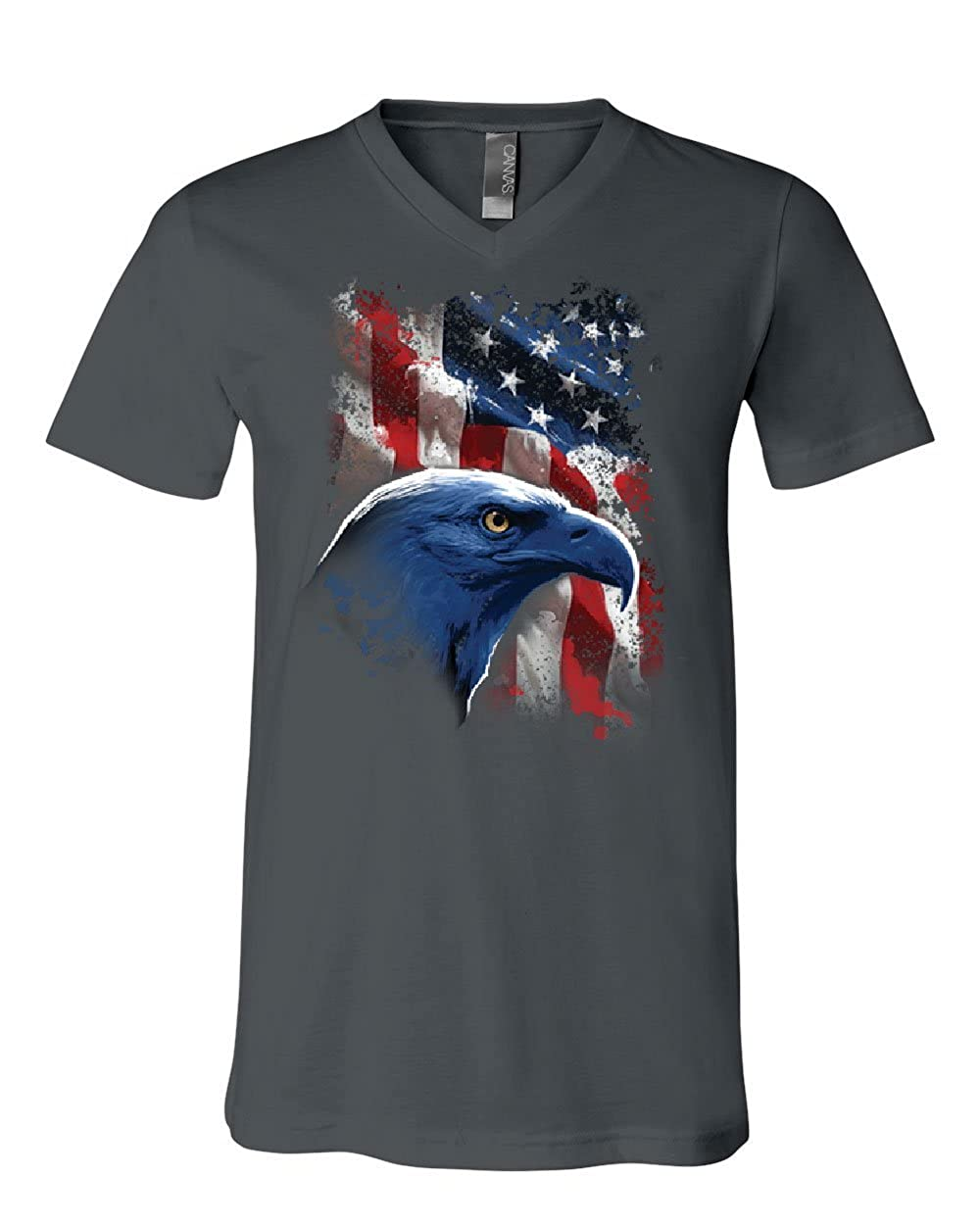 American Bald Eagle V-Neck T-Shirt American Flag 4th of July Patriotic Tee