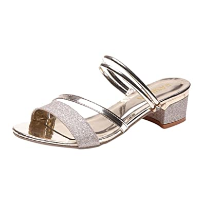 fc0f86eef57 Mid Heel Block Sandals for Women Two Ways to Wear Slippers for Girls Ladies  Sequins Summer