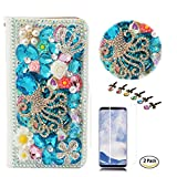 STENES LG Stylo 4 Case - Stylish - 3D Handmade Bling Gemstone Octopus Crown Wallet Credit Card Slots Fold Media Stand Leather Cover Case with Screen Protector LG Stylo 4 / LG Q710MS - Light Blue