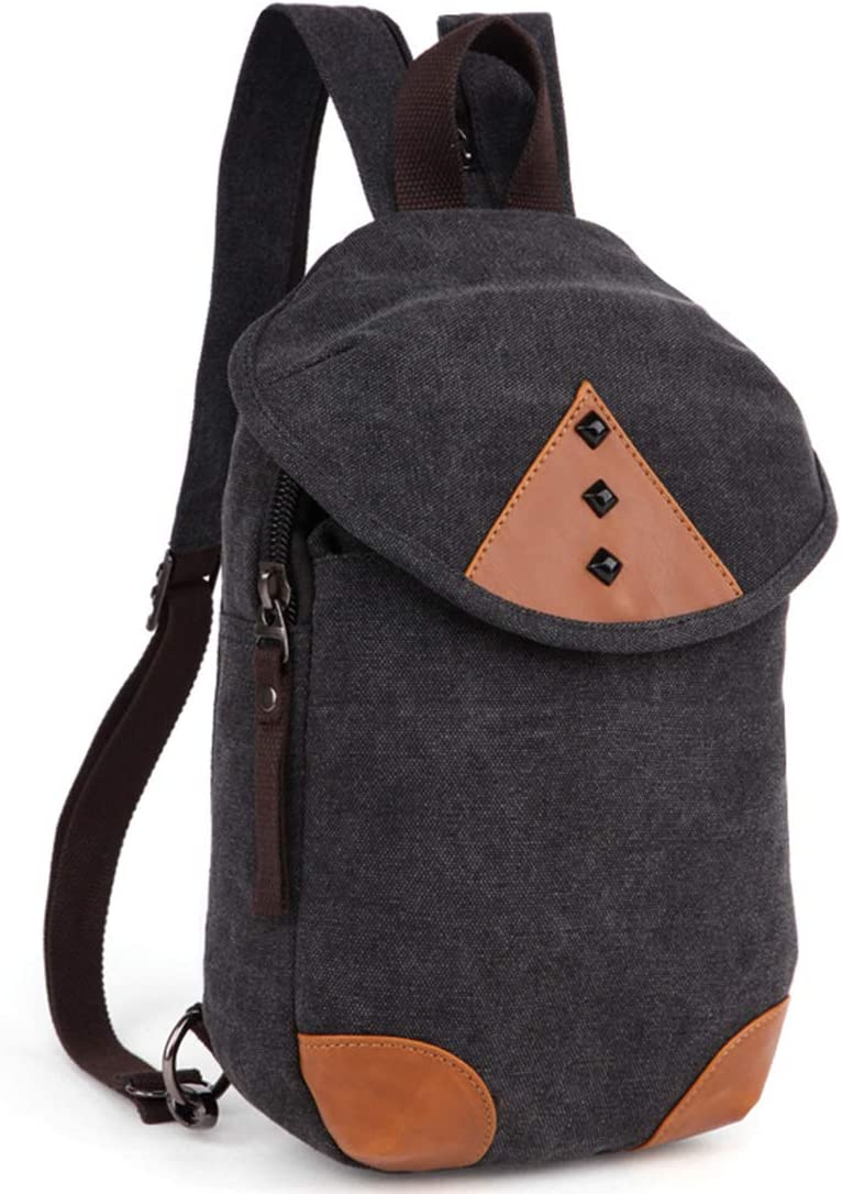 RABILTY Vintage Men//Women Backpack Daypack Waterproof Zipper Canvas Dual Purpose Chest Bag Outdoor Color : Black