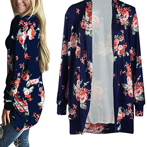 Women Cardigan,Haoricu Womens Open Front Irregular Long Sleeve Cardigans Casual Floral Print Outwear Coat (XXL, Blue)
