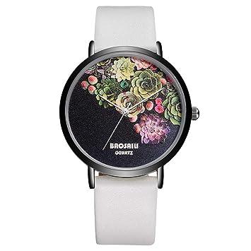 WZFCSAEAE Floral Design Black Case Japón Resistente Al Agua Life Watch Mujeres Relogio Feminino Relojes Señora