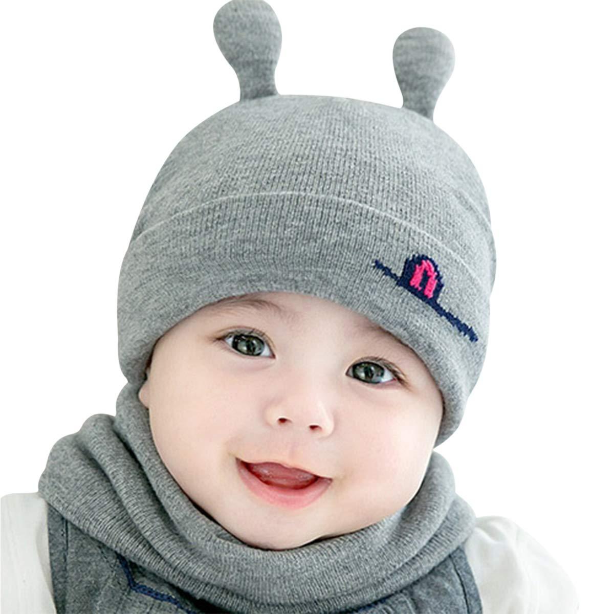 DORRISO Gorra de Bebe Otoño Invierno Cómodo Calentar Pequeña Cuerno de Caracol Gorras con Bufanda Linda Sombrero de Niño Apto para 1 Mes-2 años bebé. CP-ER004