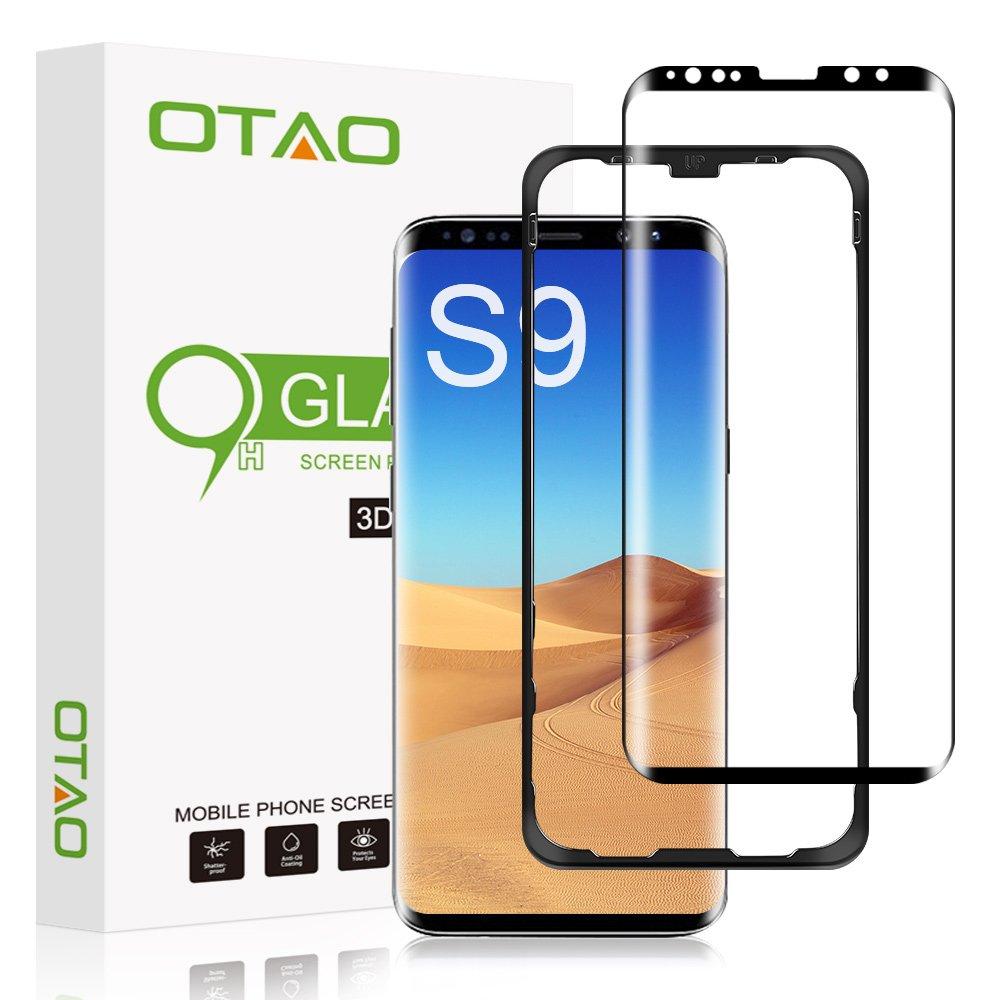 Galaxy S9 Screen Protector Tempered Glass, [Update Version] OTAO 3D Curved Dot Matrix [Full Screen Coverage] Glass Screen Protector(5.8') with Installation Tray [Case Friendly] for Samsung Galaxy S9 OT-S9-BK2