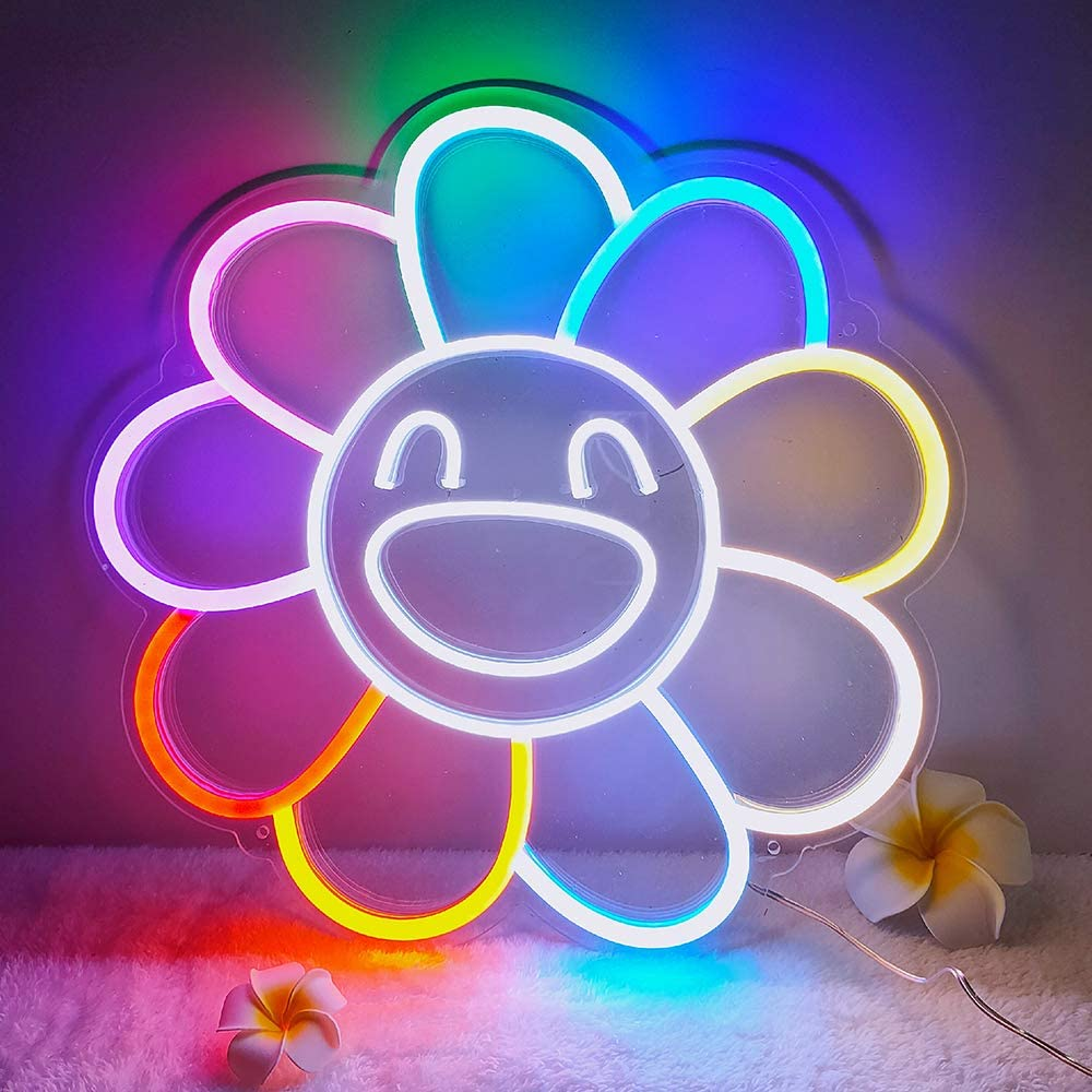 DIVATLA Big flower Neon Sign for Wall, Bedroom, Home, Office Decor,Neon Wall Sign for Holiday, Party, Weeding.Colorful Neon Sign Gifts for Girlfriend, Wife, Parents.(Power Adapter included)