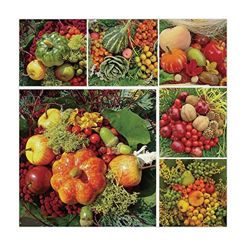 iPrint Satin Square Tablecloth,Harvest,Photograph of Products from Various Gardens and Fields Seasonal Foods Apple Walnuts Decorative,Multicolor,Dining Room Kitchen Table Cloth Cover